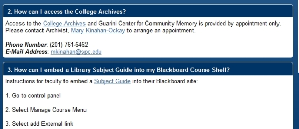 Faculty FAQ page detail